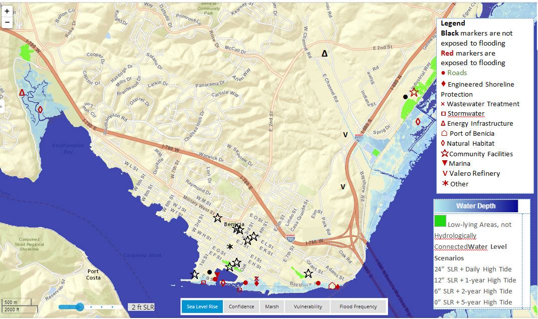 City Of Benicia Climate Change Vulnerability Assessment And - Climate change sea level rise map