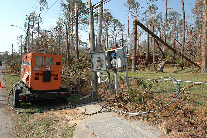 A generator powers a damaged area in Waveland, Miss. Hurricane Katrina damaged powerlines all along the Mississippi gulf coast. FEMA/Mark Wolfe
